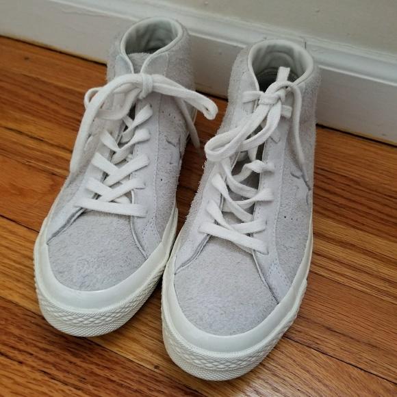 3957d0964e55 Converse Shoes - Women s Converse high top one star suede Egret